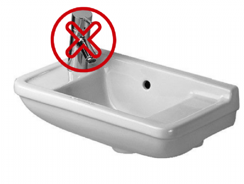 Duravit Compact Handrinse Basin - 500mm - With No Hole For Tap